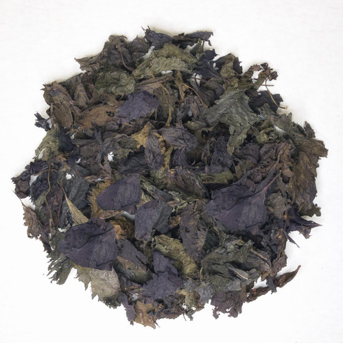 Whole-dried Akajiso (Japanese red Shiso) leaves. Unsalted and unpickled. 500g pack.