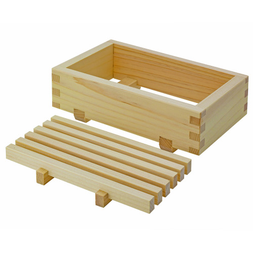 Japanese hinoki cypress soap dish showing traditional removable inside tray