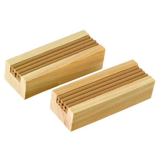 16 pieces of 100% natural hinoki incense.Comes in two holders made from hinoki wood, holding 8 pieces each.