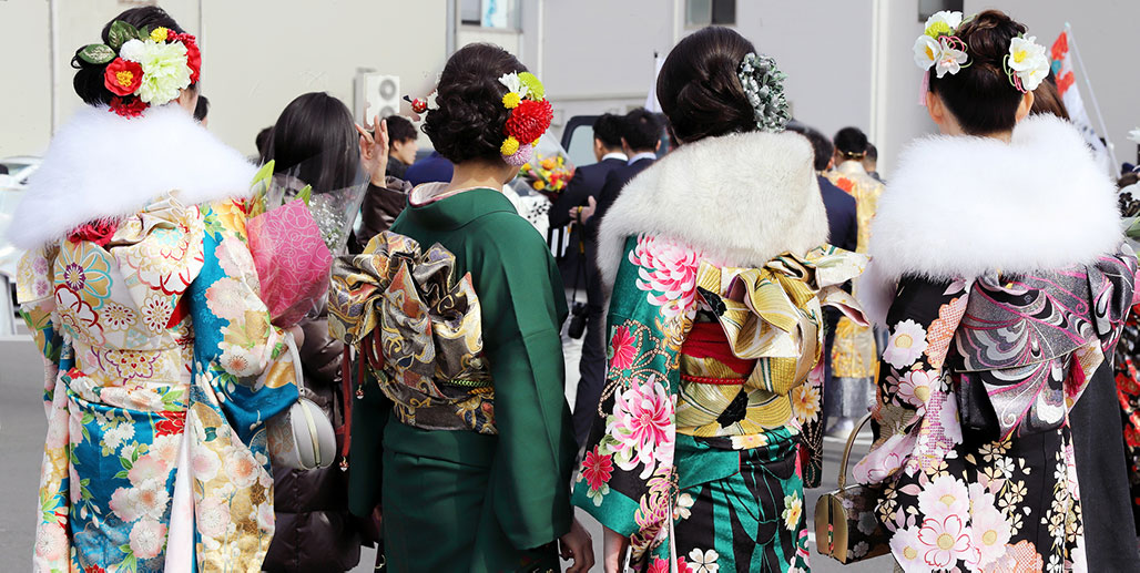Young ladies in colorful kimonos