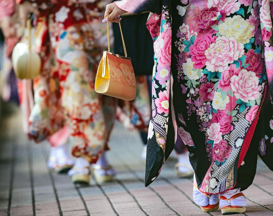 Ladies in colorful kimono, zori sandals and tabi socks
