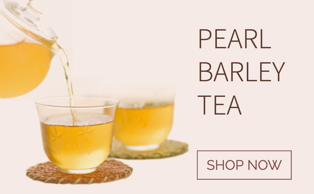 pearl barley tea in pot and cups