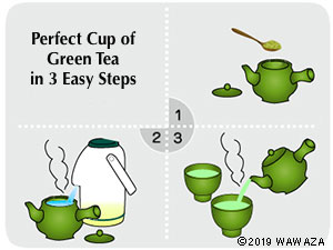 Add 1 tsp of tea leaves per cup. Add near-boiling water to teapot. Brew for 1-2 min. and serve.