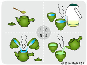 Add leaves to teapot, add near-boiling and brew for 1-2 min.
