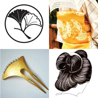 The traditional hairstyle resembling ginkgo leaves is called Ginkgo chignon (Ichō-Gaeshi.)