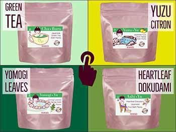 Four traditional Japanese herbal bath packs