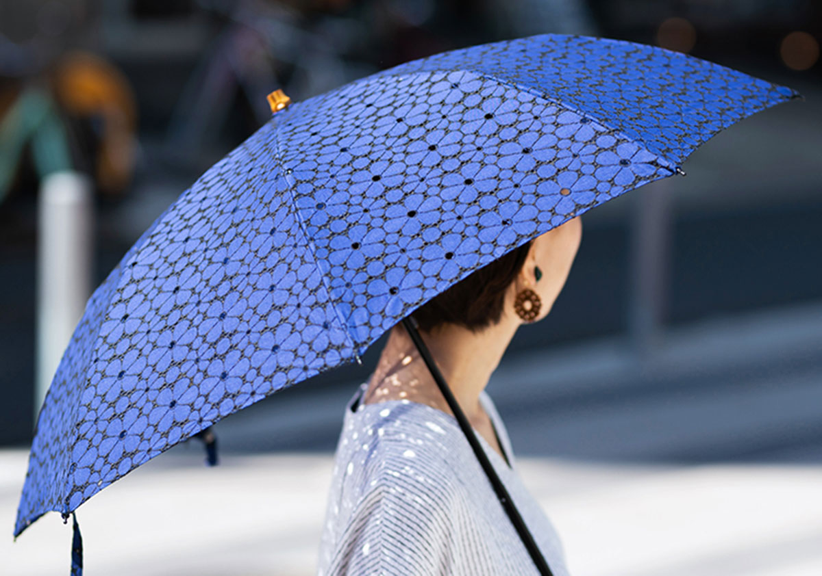Japanese lady with wagara motif umbrella