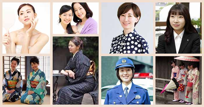 Collage of Japanese women from all walks of life