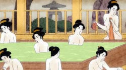 Ukiyoe of Japanese women in a bathhouse