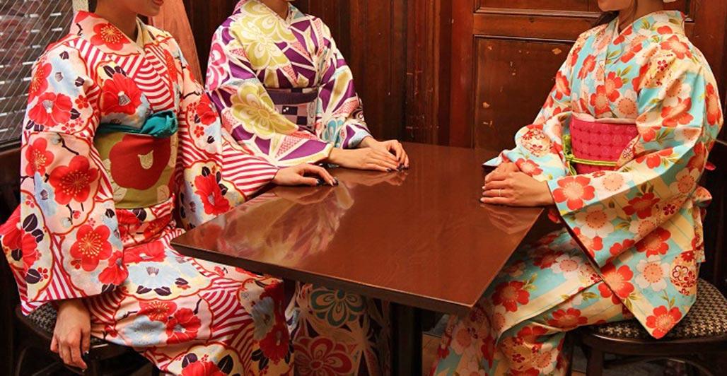 Traditional Japanese kimono wagara motifs