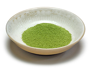 Matcha shio garnish in a plate