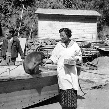 Mito sensei feeding a monkey in 1947 Kojima