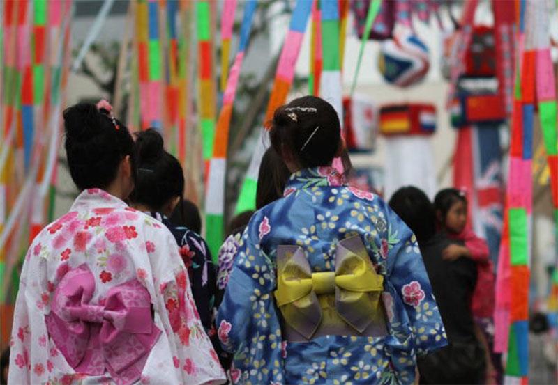 Two women in colorful yakata in Tanabata matsuri