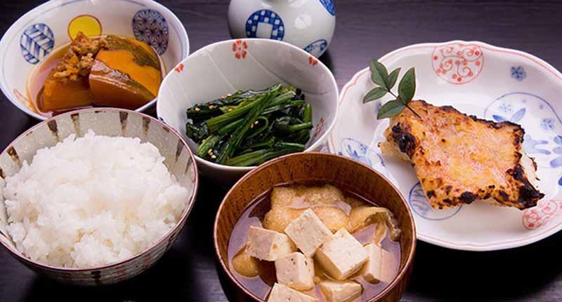 Variety of Japanese balanced foods
