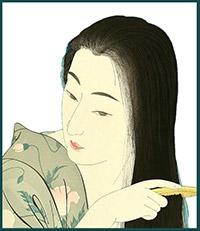 Ukiyoe by Torii of Japanese woman in kimono combing hair