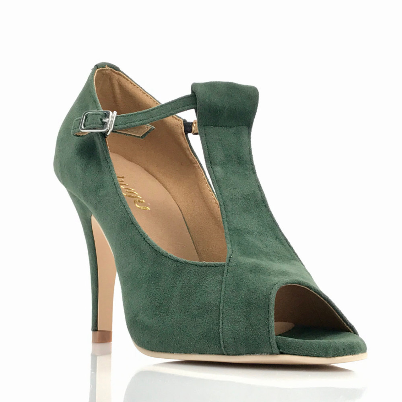 00cc47381 Garnet - Green Faux Suede Open Toe T-Strap Stiletto - 4 inch Heels - Burju  Shoes