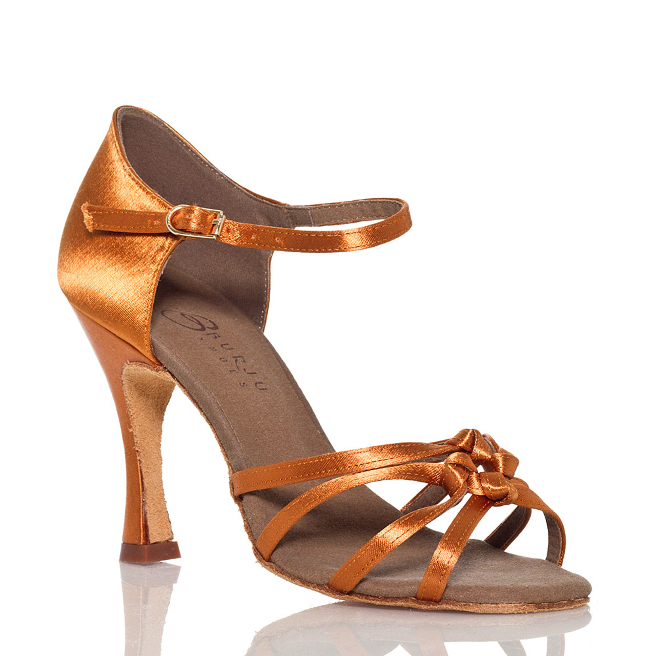 b10a8d8d4f4 Leyla - Nude Strappy Knot Dance Shoe - 3.75 inch Flared Heels