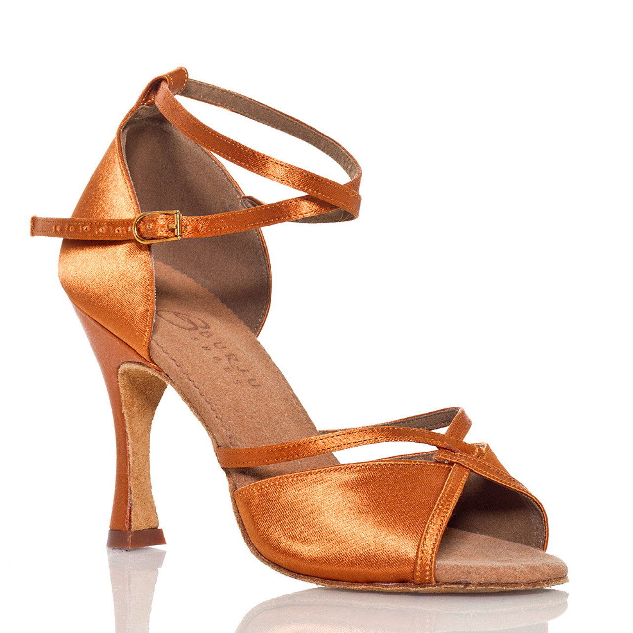 1cac8ba3a8b Linked - Nude Cross strap Dance Shoe - 3.75 inch Flared Heels - Burju Shoes