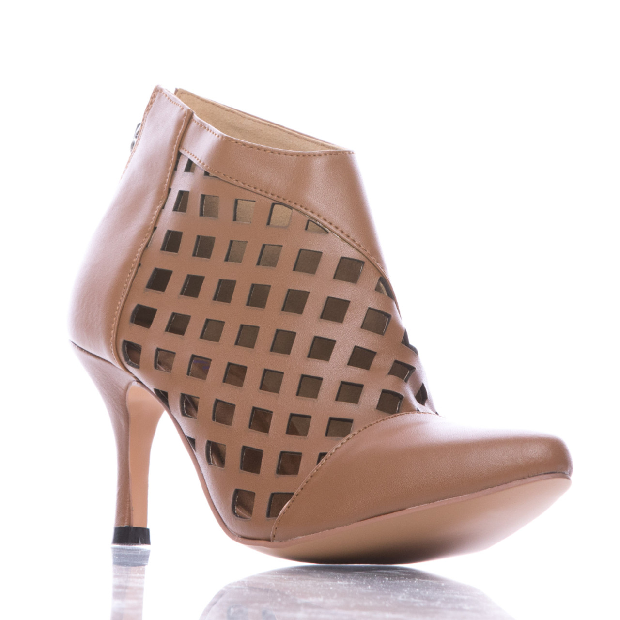 2bc81c78a5b Melissa Mitro - Camel Pointed Toe Cutout Stiletto Bootie - 3 inch Heels -  Burju Shoes