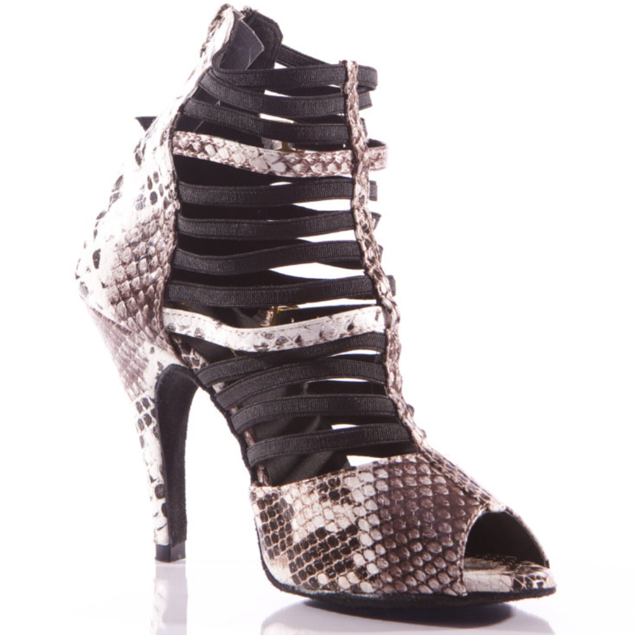 63f77f876f11 Relle - Black and White Faux Snake Skin Open Toe Elastic Strappy Stiletto  Dance Shoe - 4 inch Heels - Burju Shoes