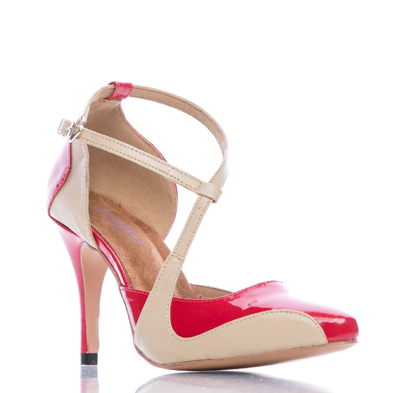 62ef457b46e Silana - Red and Tan Pointed Toe Ankle Strap Stiletto Pump - 3.5 inch Heels  - Burju Shoes