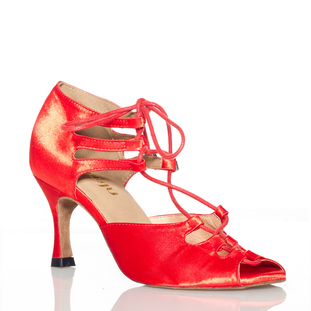 good looking cozy fresh new authentic Alemana - Satin Open Toe Lace Up Dance Shoe - 3 inch Flared Heels