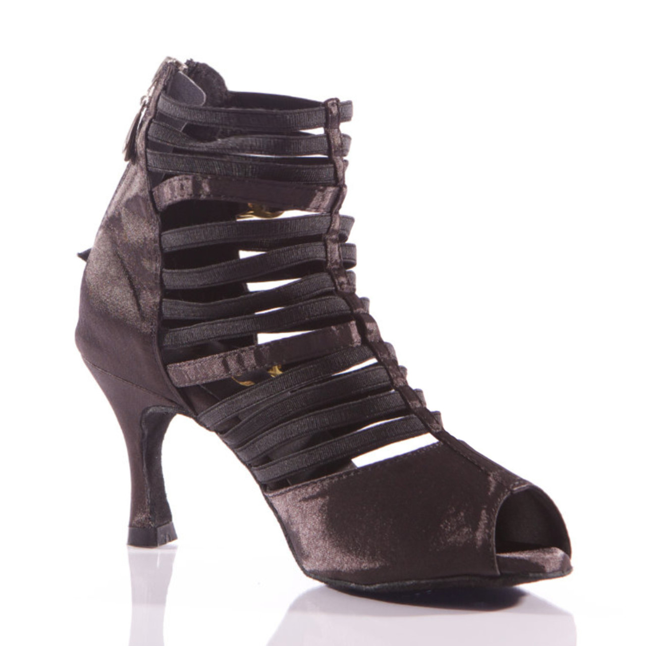 a19ef6d24 Relle - Open Toe Elastic Strappy Dance Shoe - 3 inch Flared Heels - Burju  Shoes