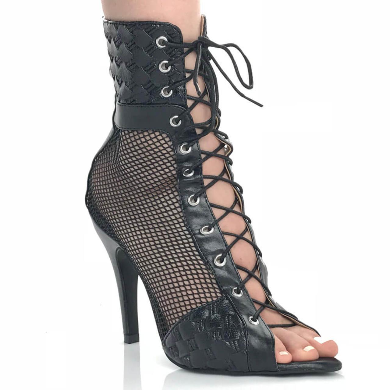 Open Toe Lace Up Bootie - Burju Shoes