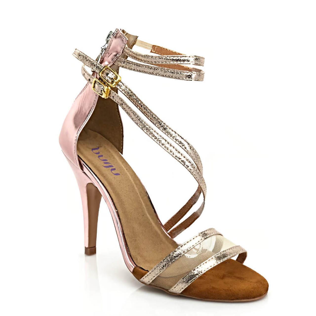 9598d25e174 Lila - Open Toe Metallic Sexy Strappy Heels - Custom Made To Order - B1883