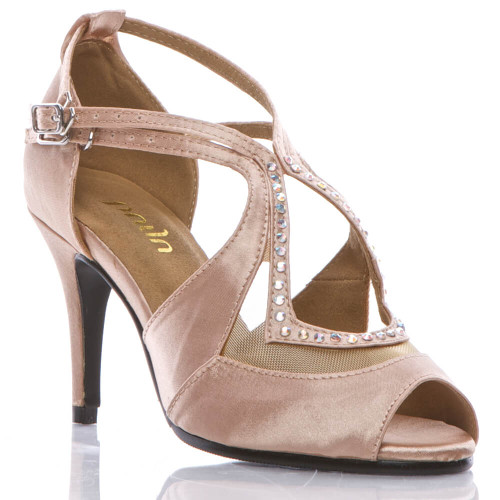 Brittanee nude satin crystal peep toe stiletto heel dance shoe