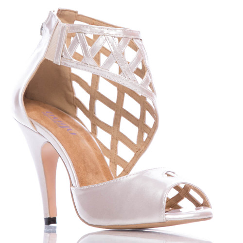 Caressa nude cage peep toe dress prom and wedding high heel shoe