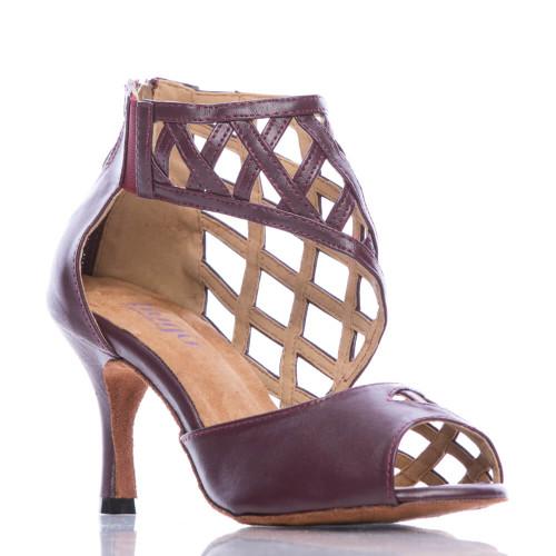 Caressa brown cage low heel suede sole back zip dance shoe
