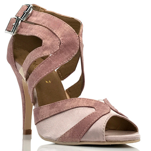 Isabel - Denim Open Toe Cross Strap Stiletto - 4 inch Heels