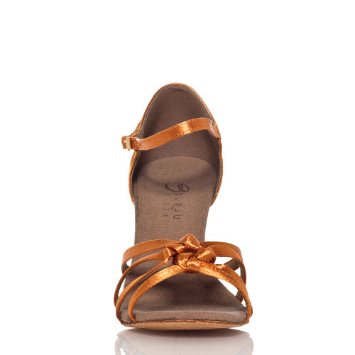Leyla - Nude Strappy Knot Dance Shoe - 3 inch Flared Heels