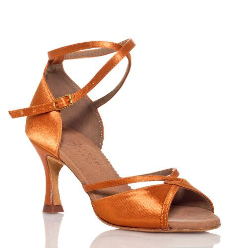 Linked - Nude Cross strap Dance Shoe - 3 inch Flared Heels