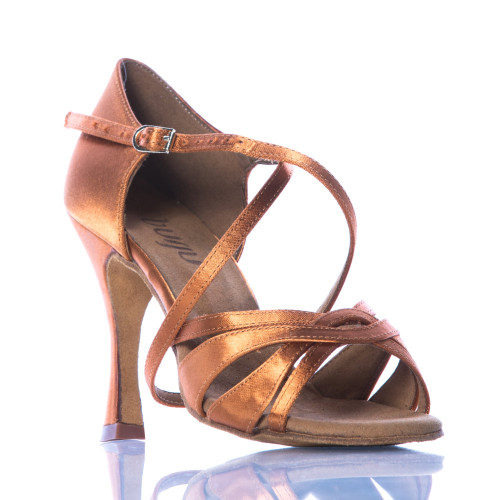 Loraina - Nude Strappy Dance Shoe - 3.75 inch Flared Heels