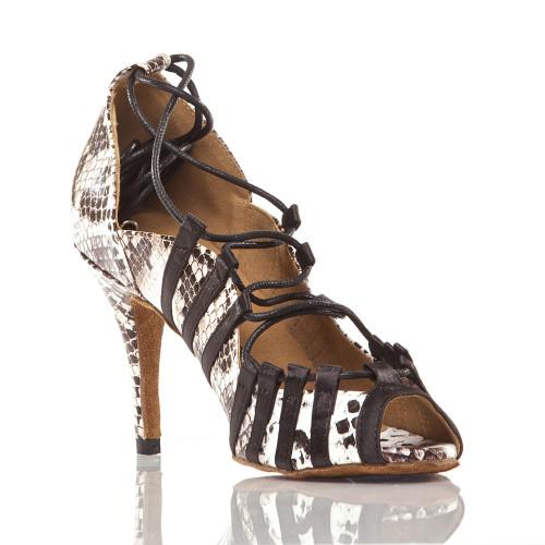 Tayla - Faux Snake Open Toe Lace Up Stiletto Dance Shoe - 3.5 inch Heels
