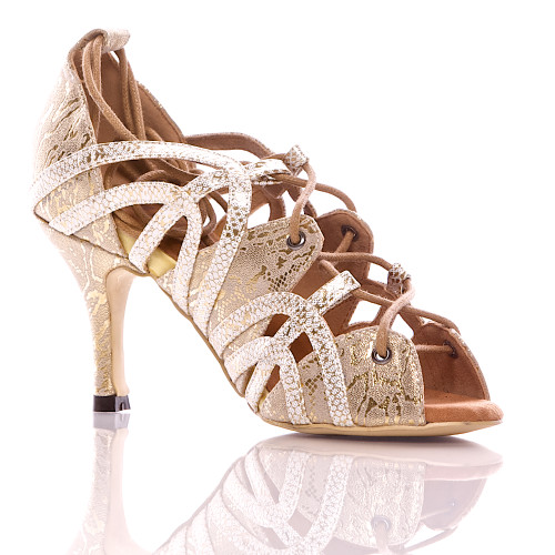 Vaneno - Nude And Gold Open Toe Lace Up Stiletto Sandal - 3 inch Heels
