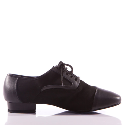 Christian - Black Leather And Nubuck Men's Dance Shoe - Standard Heels