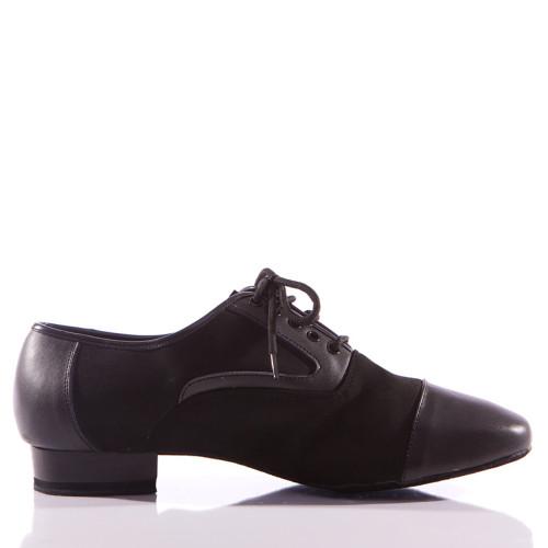 Christian - Black Leather And Nubuck Men's Dance Shoe - Standard Heels