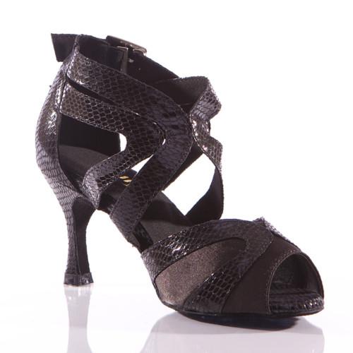 Isabel - Metallic Open Toe Cross Strap Dance Shoe - 3 inch Flared Heels