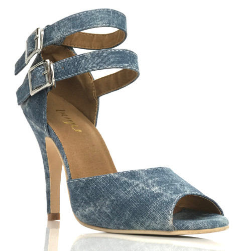 Javana - Open Toe Double Ankle Strap Heels - Custom Made To Order - B1662