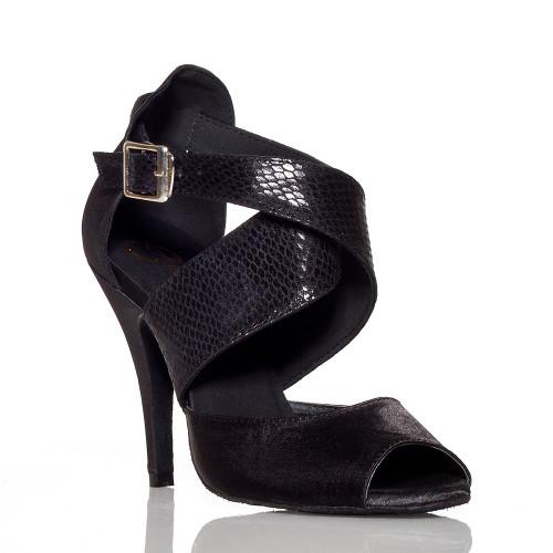 Jorjet - Open Toe Thick Crossing Ankle Strap Stiletto Dance Shoe - 4 inch Heels