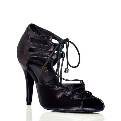 Alemana - Black Satin Open Toe Lace Up Stiletto Dance Shoe - 3.5 inch Heels