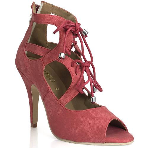 Amneris - Lace Up Open Toe Heels - Custom Made To Order - B1025