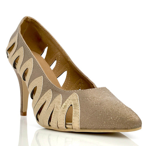 Janette - Pointed Toe Cutout Stiletto Pump - 3.5 inch Heel