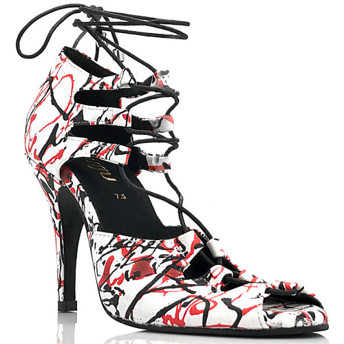Alemana - Paint Splash Open Toe Lace Up Stiletto - 4 inch Heels