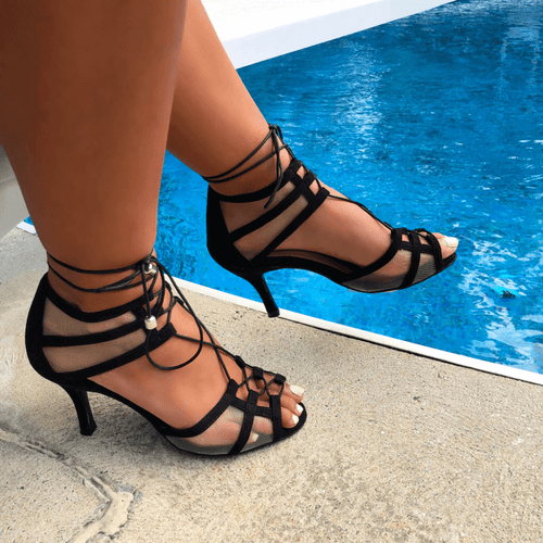 Aleeya - Lace Up Mesh Cut Out Heel - Custom Made To Order - 1882