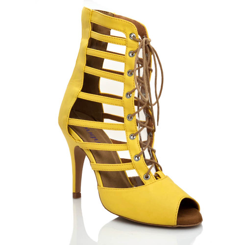 Keisha - Open Toe Lace Up Yellow Bootie - Custom Made To Order - B1886