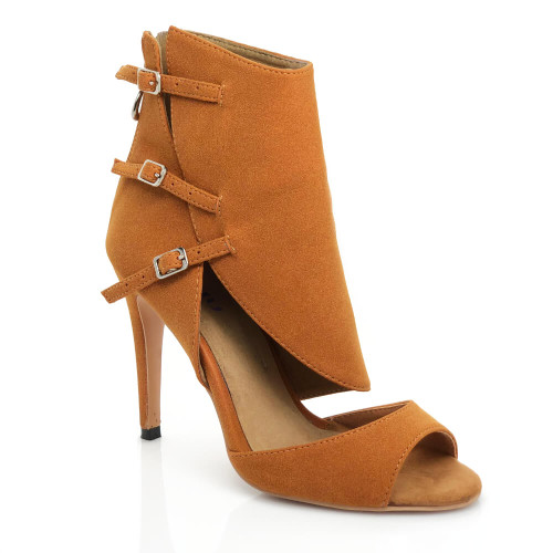Eliza - Open Toe Burnt Orange Cutout Stiletto Heel Bootie - Custom Made To Order - CB1891